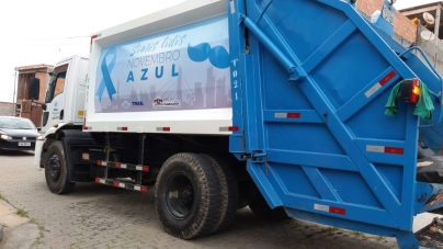 Caminhões de lixo fazem campanha do Novembro Azul