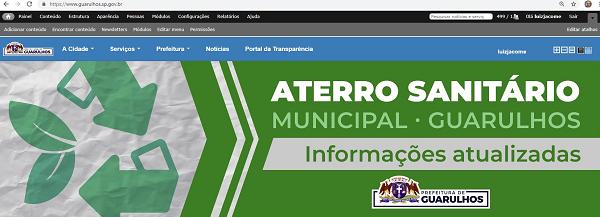 Site da prefeitura traz atualizações sobre o aterro sanitário, no Cabuçu