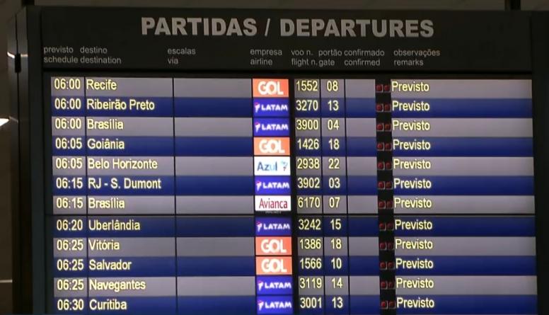 Fortes chuvas atrasam voos previstos para Congonhas, em São Paulo