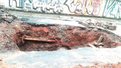 Avenida Circular fica parcialmente interditada há dois meses devido à cratera